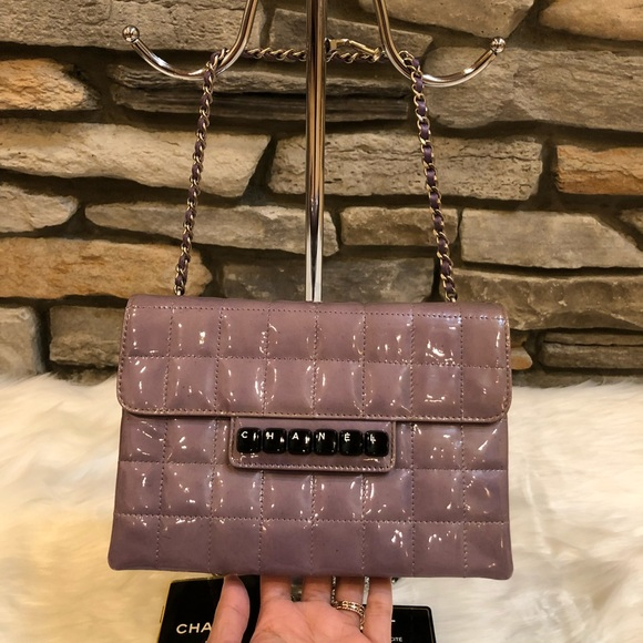 c9c49e473d2e CHANEL Handbags - CHANEL Patent Square Stitched Keyboard Flap Clutch